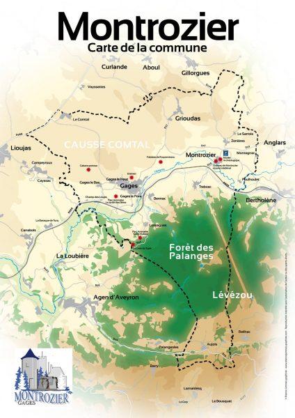 Carte communes autour de Montrozier